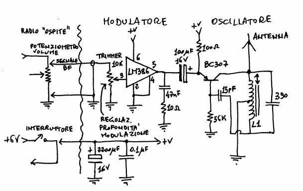 Schema trasmettitore onde lunghe